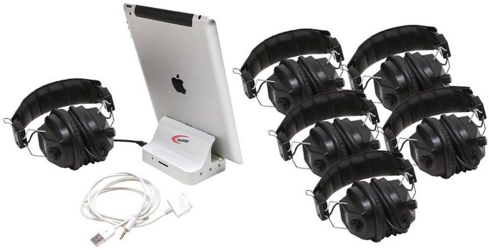 Califone 1206i-06, 6 Position iPad Jackbox & Listening Center, works with (iOS and Android based) smartphones and tablets
