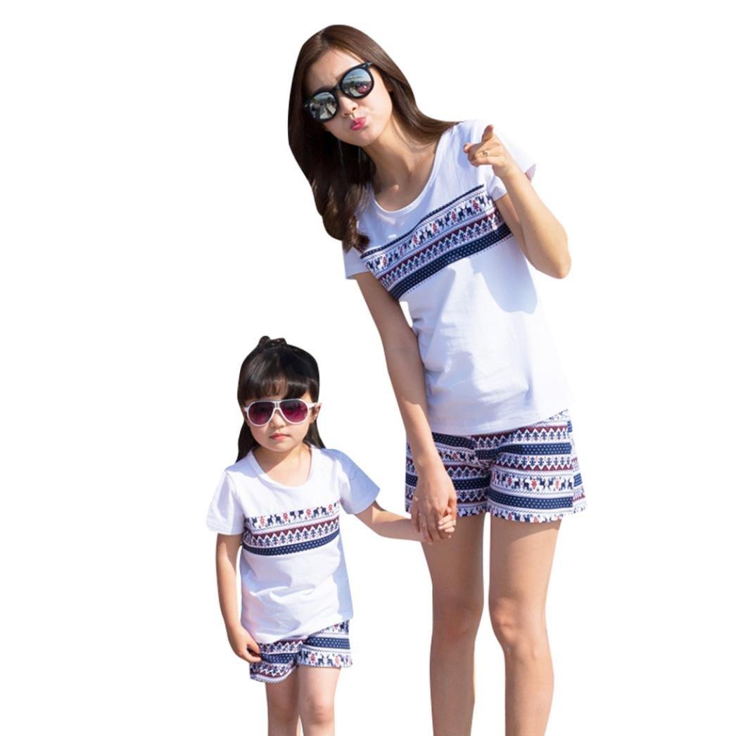 AutumnFall Family Clothes Set,2PCs Mom&Me Baby Girls Kids Eyelash Print Top+Eyelash Print Shorts Outfits Set (Size:6T, Baby Girls)