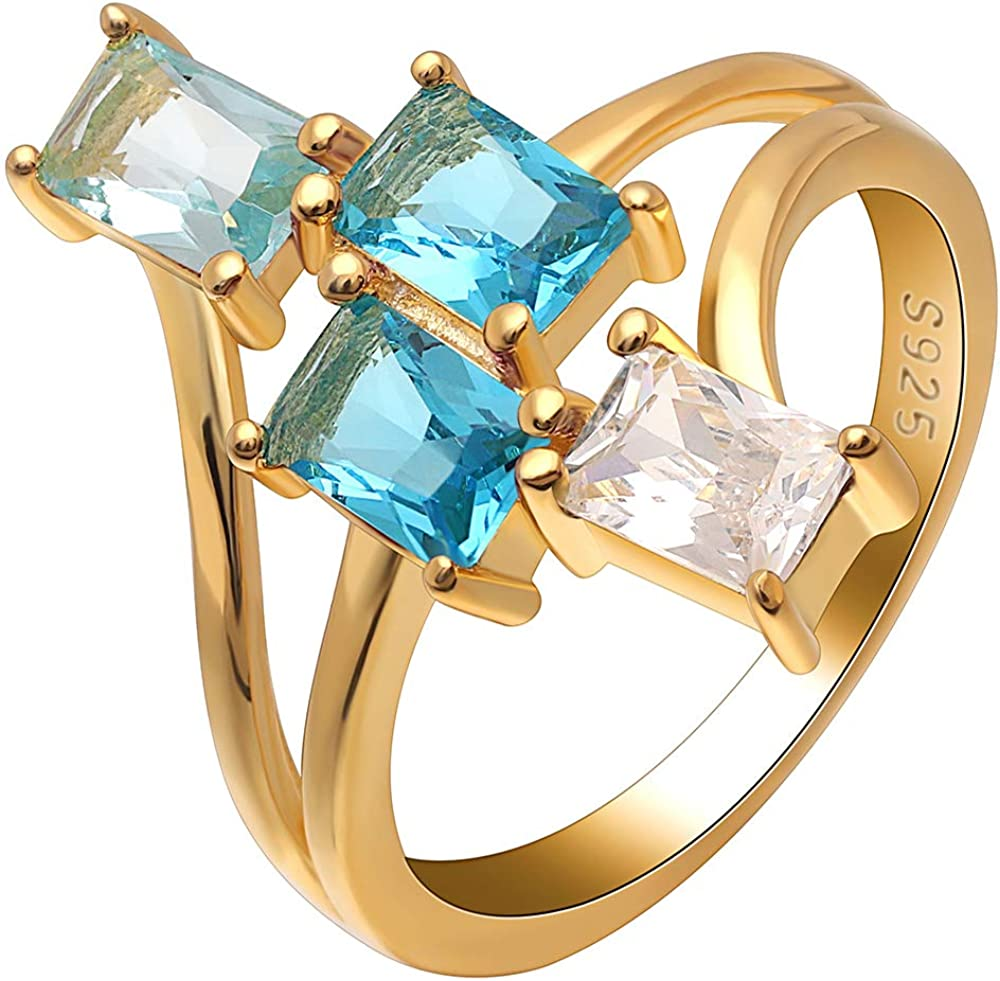 Ginger Lyne Collection Tiana Varying Blue Color CZ 18Kt Gold Over Sterling Silver Statement Ring