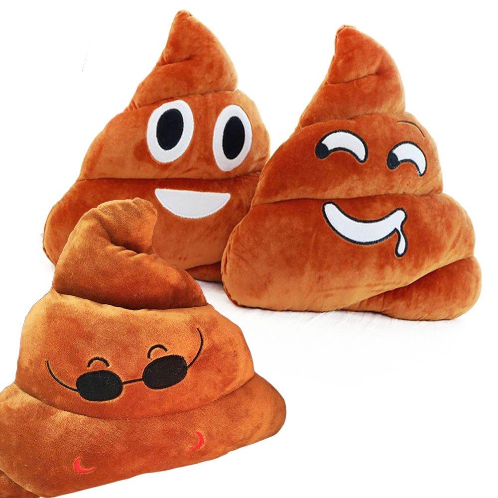 GFDay 11x12 Poop Poo Emoji Emoticon Cushion Pillow Brown Stuffed 3 Style Set