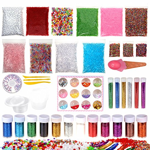 4 Ounce Ship (56 pack slime making kit for girls kids and boy including fishbowl beads glitter and sequins foam balls fimo clay slices spoons and 4oz container with lids cheap prime ship)