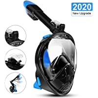 LALAYA Snorkel Mask 180 Degree Vision, Full Face Diving Mask Free Breathing Design Anti-Fog and Anti-Leak Technology with Sport Camera Mount for Adults