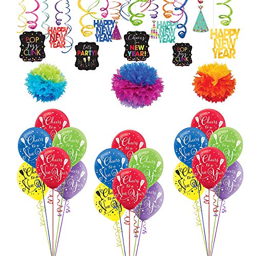 (Party City Colorful New Year's Decorating Kit, Party Supplies, Includes 2019 New Year's Scene Setter and)