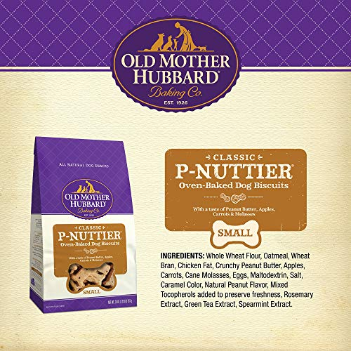 Old Mother Hubbard Classic Crunchy Natural Dog Treats, P-Nuttier Small Biscuits, 20-Ounce Bag