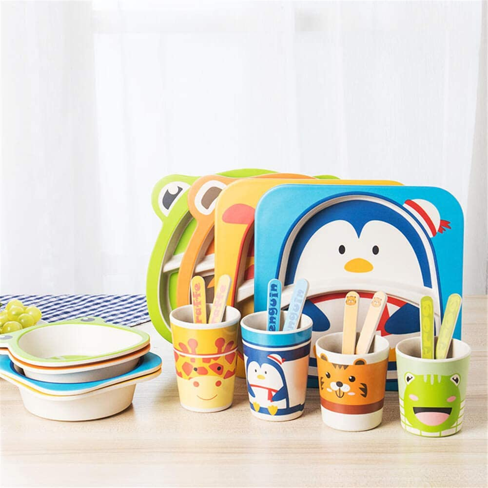 5 Pcs Animal Shaped Bamboo Fiber Portable Childrens Cutlery Set Toddler Feeding Dishes Kids Dinnerware Gift Sets Blue Bee