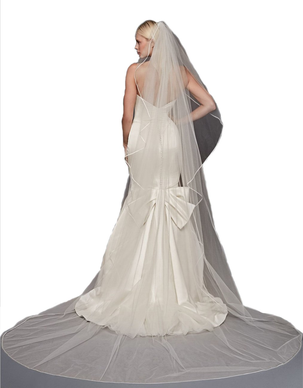 Top-Sexy Ivory 1 Tier 3M Cathedral Truly Zac Posen Pencil Italy Satin Edge Wedding Veil 26 by Top-Sexy