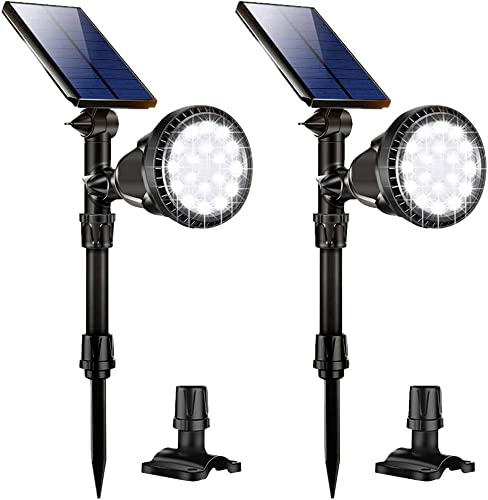 Nular tec Solar Lights Outdoor Solar Spotlights 18 LED Solar Landscape Lights Auto On Off Wall Security Lighting for Garden Yard Pathway Driveway Pool Landscaping, Pack of 2 White