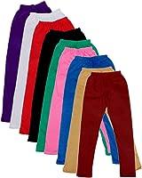 IndiWeaves Girl's Leggings - Pack of 9 (Multi-Coloured)