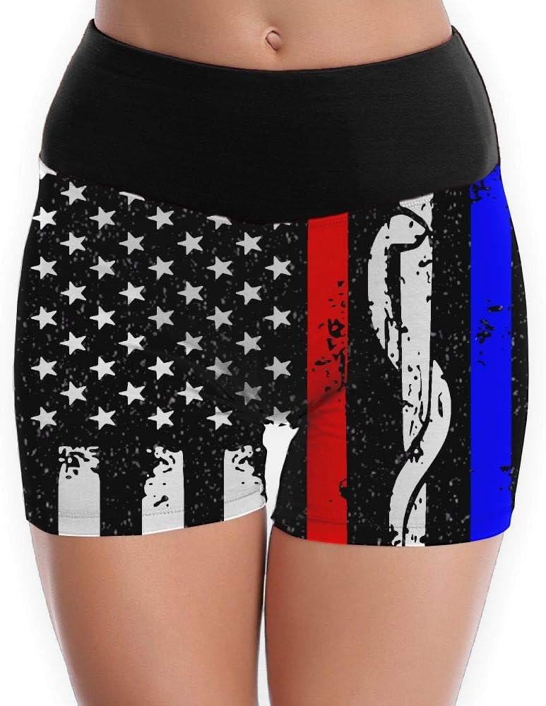 Police /& Firefighter /& EMT Flag Girls 3D Design Yoga Shorts Tummy Control Tights Gym Pants