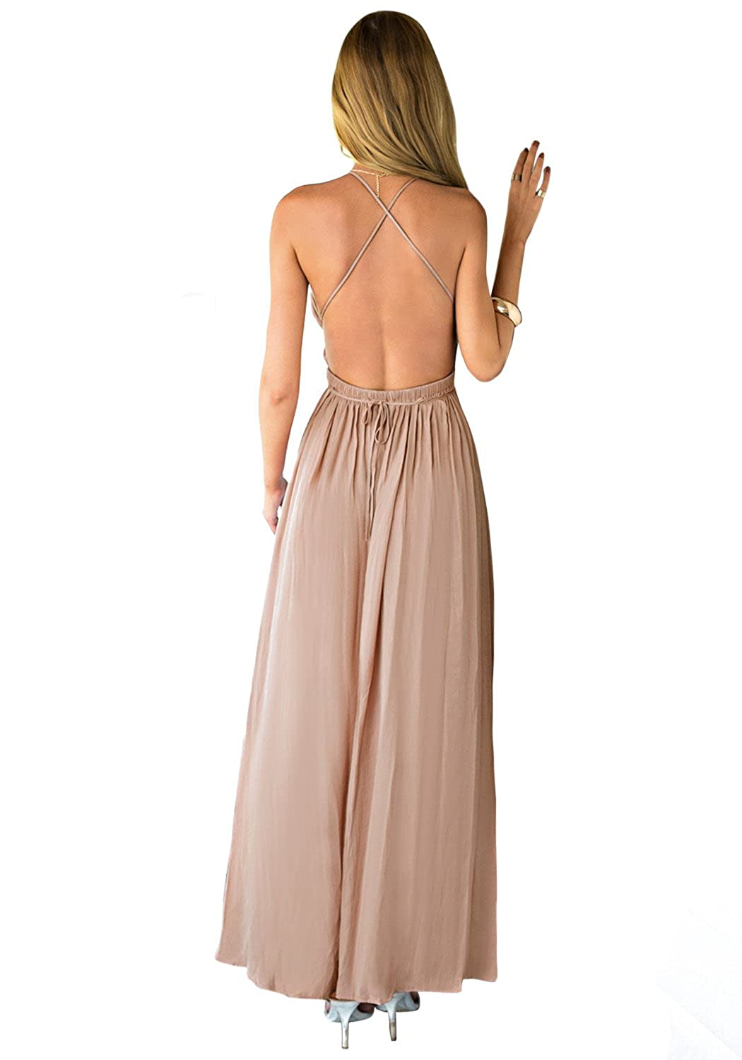 Lookbook Store Women Camel Plunge Crisscross Back Front Slit Strappy Maxi Dress US 12 at Amazon Womens Clothing store: