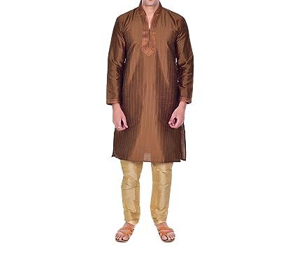 ellegent exports mens pure silk kurta churidar brown and cream