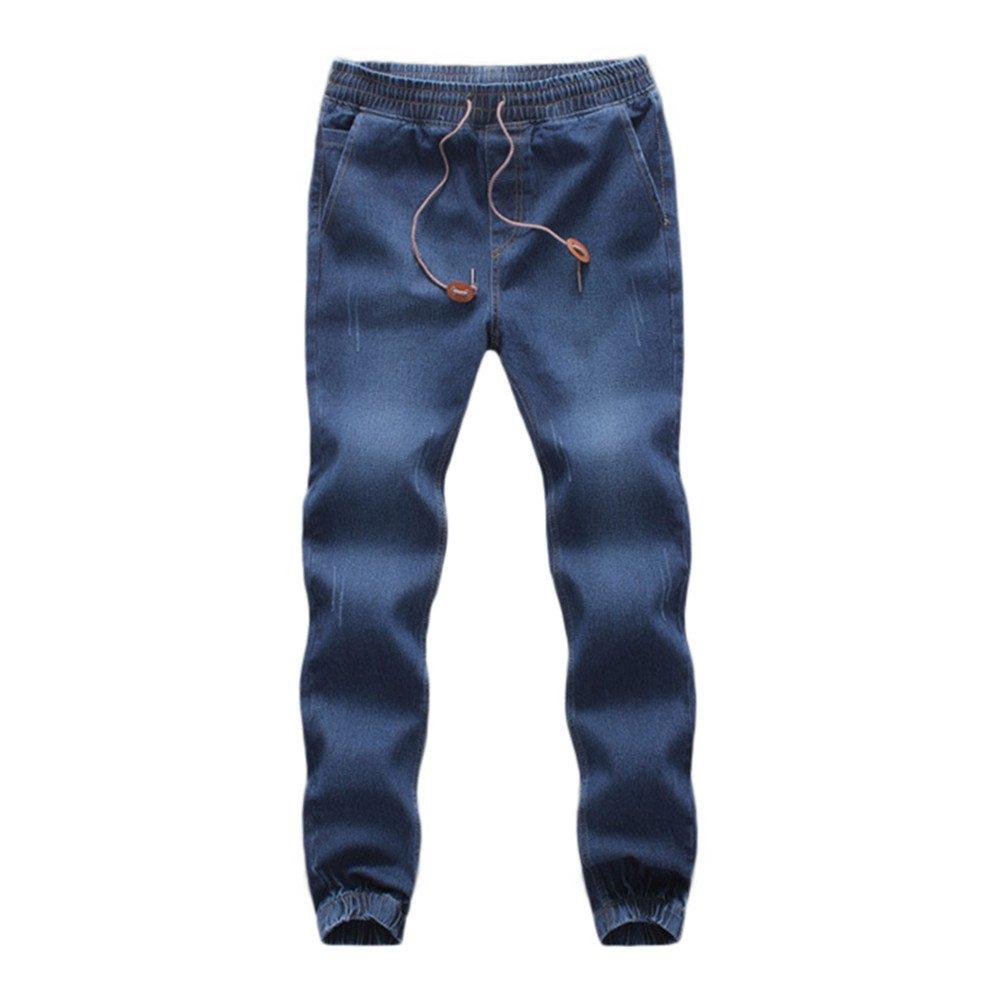 Faionny Men Denim Pants Cotton Elastic Jeans Draw String Work Trousers Casual Autumn Britches Clearance Sale