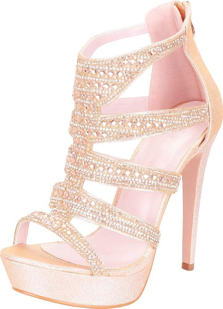Champagne Glitter Cambridge Select Women's Cutout Caged Crystal Rhinestone Chunky Platform High Heel Dress Sandal