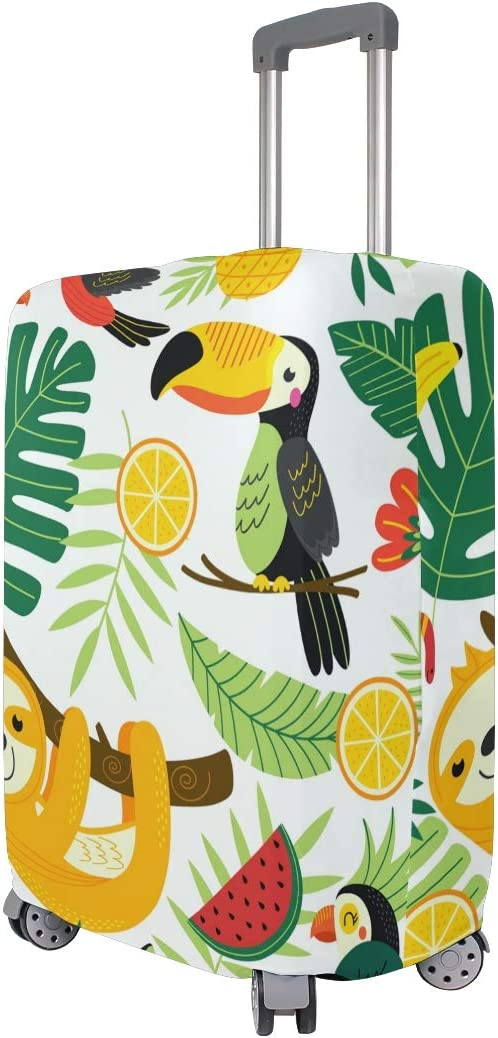 FOLPPLY Tropical Animal Palm Sloth Toucan Birds Luggage Cover Baggage Suitcase Travel Protector Fit for 18-32 Inch