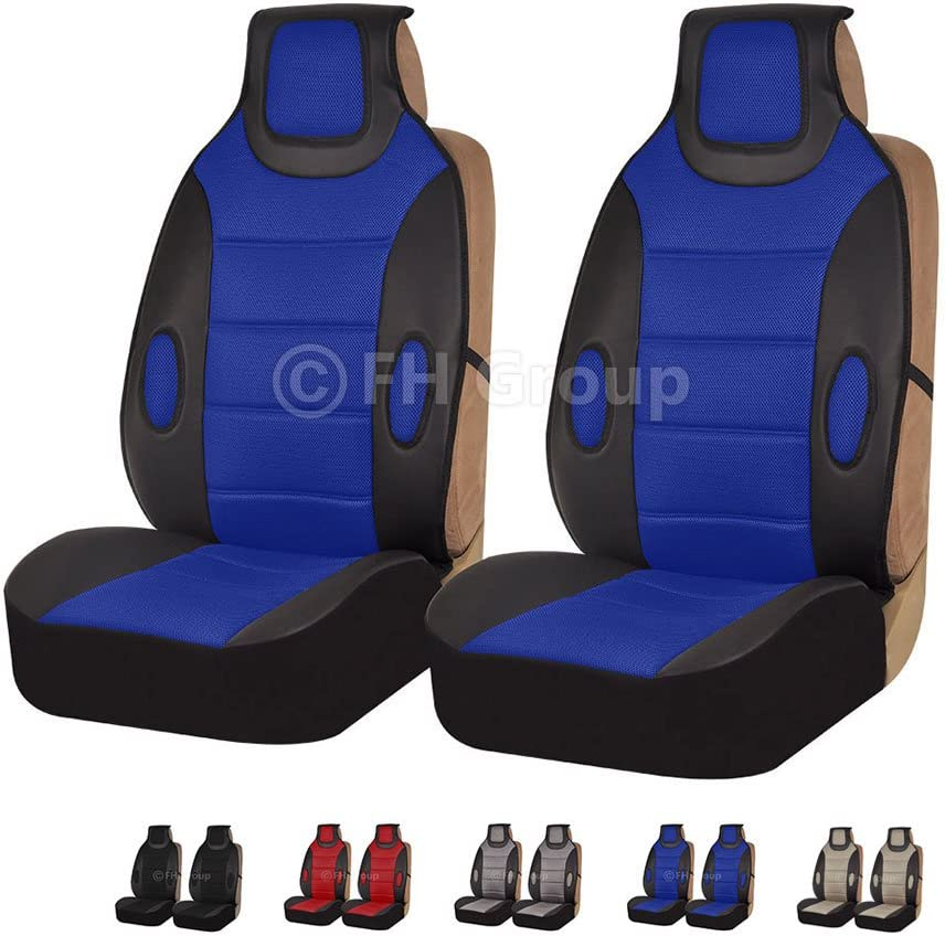 Leatherette with Fabric FH Group Universal Fit Front Car Seat Cushion Set of 2 Red