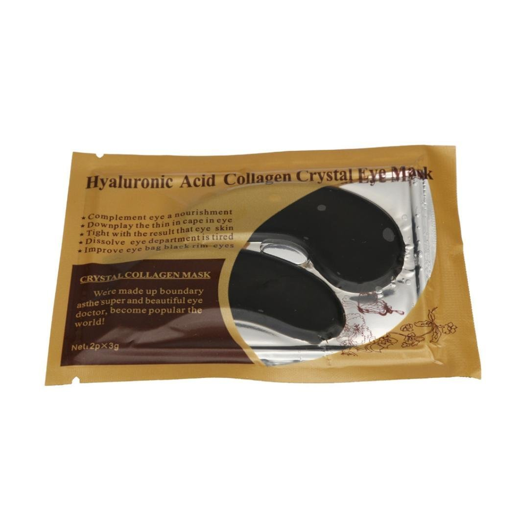 10 Pairs Black Crystal Collagen Cold Powder Eye Mask, Eyelid Patch Circle Under Eye Treatment Pad Patches Mask Bag, Anti Ageing Wrinkle, Remove Dark Circles, Moisturising Whitening Smoother by DAXUN
