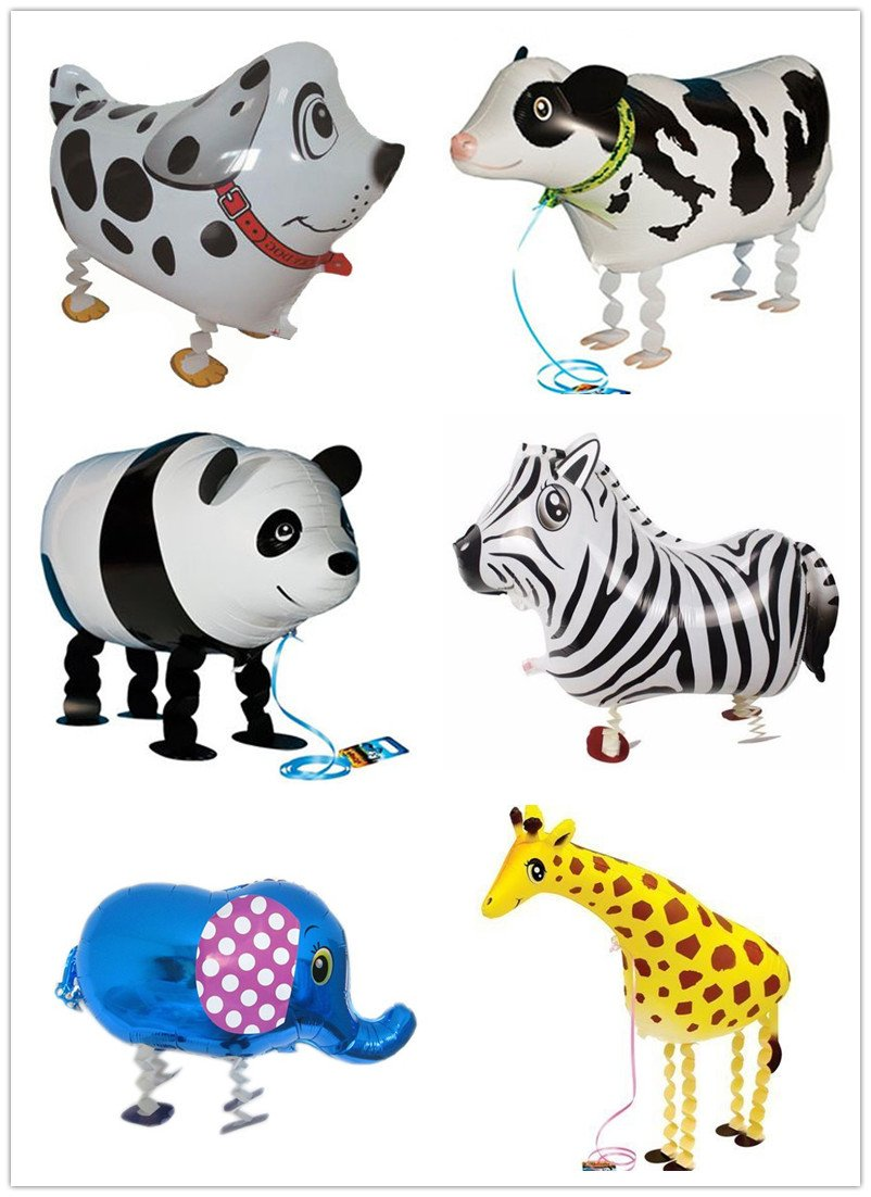 KingΠg 6pcs/set Animal Walking Balloons (dog zebra elephant cow giraffe panda)Foil Mylar Helium Aluminum film balloons for Party Brithday Festival Christmas decorations (animal) by KingΠg