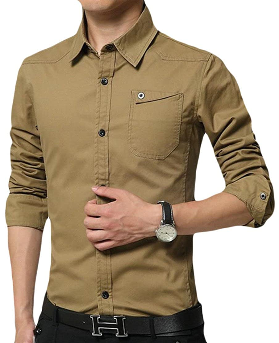 Hajotrawa Men Pocket Oxford Long Sleeve Lapel Neck Vogue Button Down Shirts