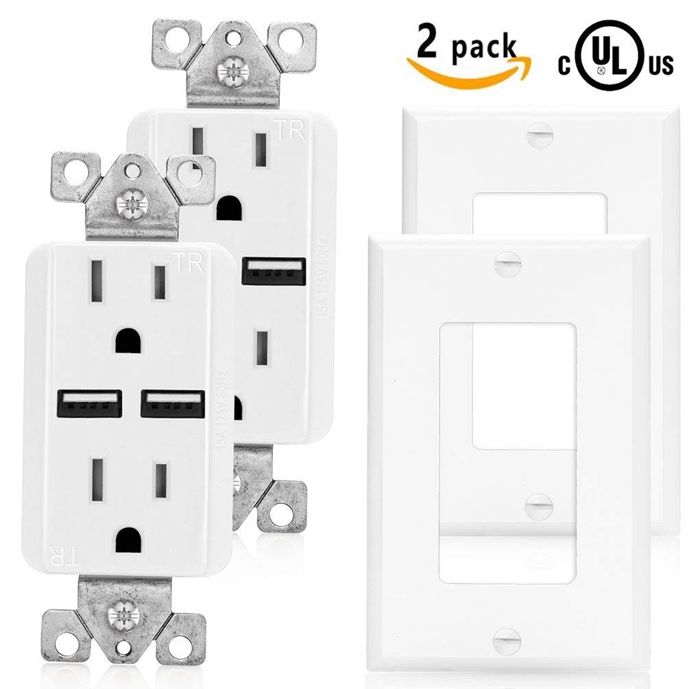 SenQ UL Listed- High Speed 2 USB Port Charger and Duplex Receptacle 15-Amp, 3.1A Charging Capability, Tamper Resistant Outlet- Wall-plate Included 2 PACK by SenQ