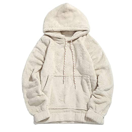 cbbfdd0f Mens Hoodie Winter Fuzzy Sherpa Fleece Hooded Sweatshirts Warm Thick  Jackets Pullover Outwear (S,