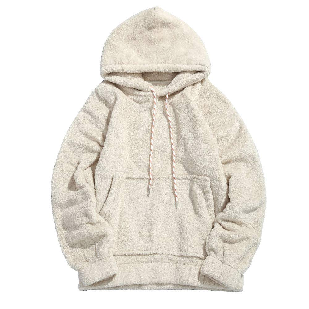 Mens Winter Hooded Fuzzy Sherpa Pullover Hoodie Sweatshirts with Kangaroo Pockets Jackets Outwear (XL, Beige)