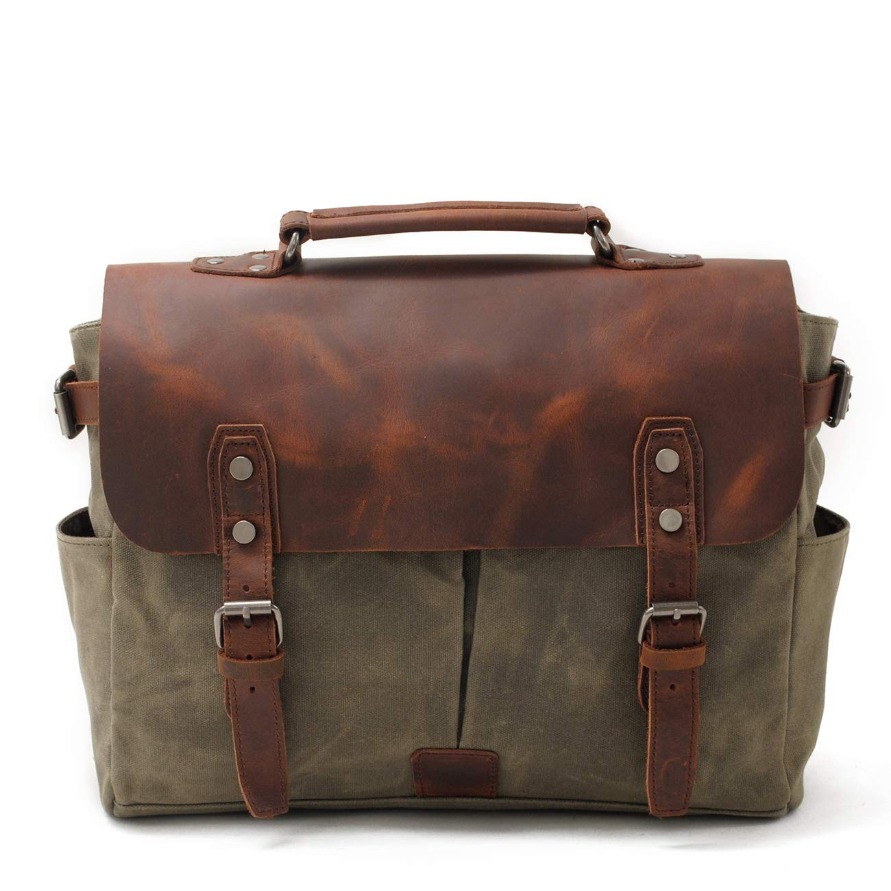 Mens Messenger Bag Handmade Cross Body Bag Genuine Leather Laptop Briefcase Waxed Canvas Shoulder Bag with Detachable Strap 16960 Army Green