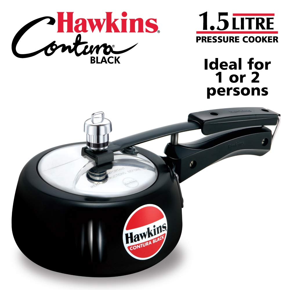 Hawkins Contura Hard Anodised Aluminium Pressure Cooker, 1.5 Liters, Black product image