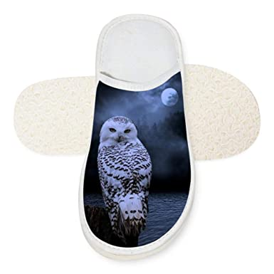 fab2ae70abb90 Amazon.com: Slippers Owl Night 3D Soft Winter Slippers Warm Indoor ...