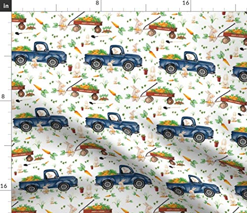 (Country Bunny Fabric - Boy Easter Trucks And Wagons Farm Children'S Bunnies Blue Red Wagon Rabbits Print on Fabric by the Yard - Basketweave Cotton Canvas for Upholstery Home Decor Bottomweight)