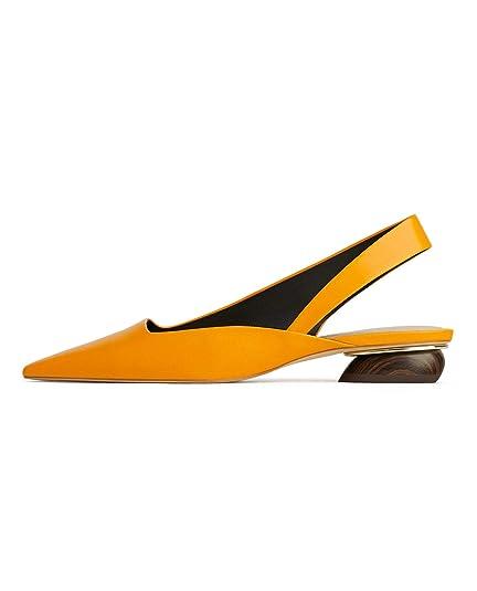 cadfe0ab5f7 Zara Women s Leather Slingback Ballerinas with Wooden Heel 1534 001 (2 UK)  Yellow