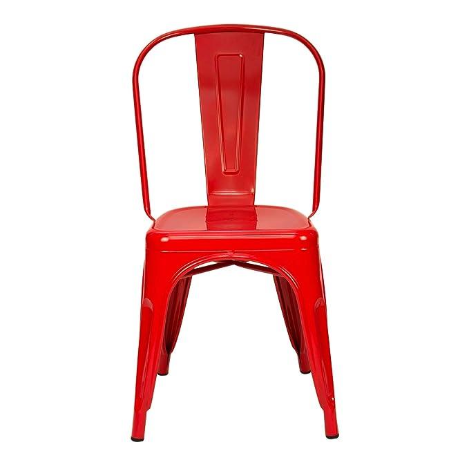 Vaukura Silla Tolix(Pack 4) - Silla Industrial Metálica Brillo (Rojo)