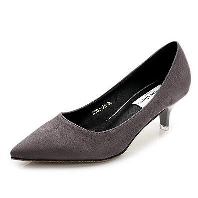 AalarDom Damen Mattglasbirne Mittler Absatz Rein Ziehen auf Pumps Schuhe