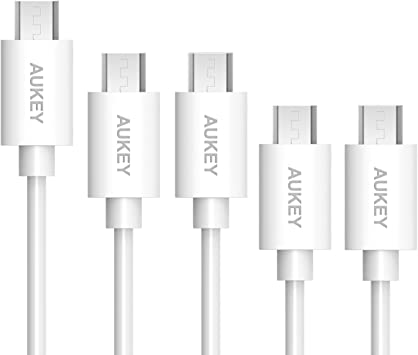 AUKEY Cable USB a Micro USB 5 Pack: 1m *3, L=0,3m*2 Cable Micro USB para Android Smartphone Samsung Galaxy S7 / Sony / HUAWEI / HTC (Blanco) : Amazon.es: Electrónica
