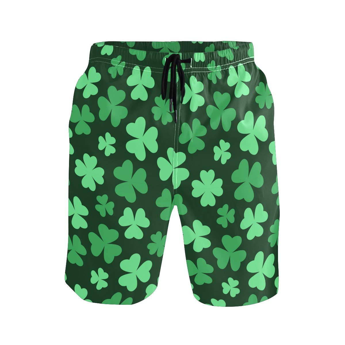 Mens Swim Trunks Quick Dry Bright Green Clover Printed Holiday Beach Board Shorts with Mesh Lining