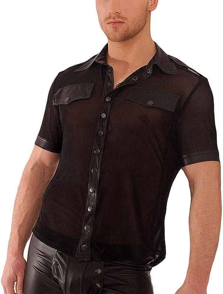Hecho a mano negro para hombre H022 camisa de tul con aspecto mojado-aplicaciones - Art of Life Berlin: Amazon.es: Ropa y accesorios