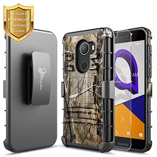 NageBee T-Mobile REVVL Case with [Tempered Glass Screen Protector], Alcatel A30 Fierce (MetroPCS) /A30 Plus 5.5 /Walters, [Heavy Duty][Belt Clip Holster Kickstand] Combo Case -Camo