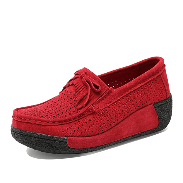 Amazon.com | EnllerviiD XL1319-1hongse37 Women Slip On Platform Loafers Shoes Cut-Out Fashion Tassel Wedges Sneakers Red 6 B(M) US | Loafers & Slip-Ons