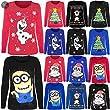 Kids Girls Long Sleeves Novelty Christmas Penguin Minion Olaf Jersey T Shirt Top