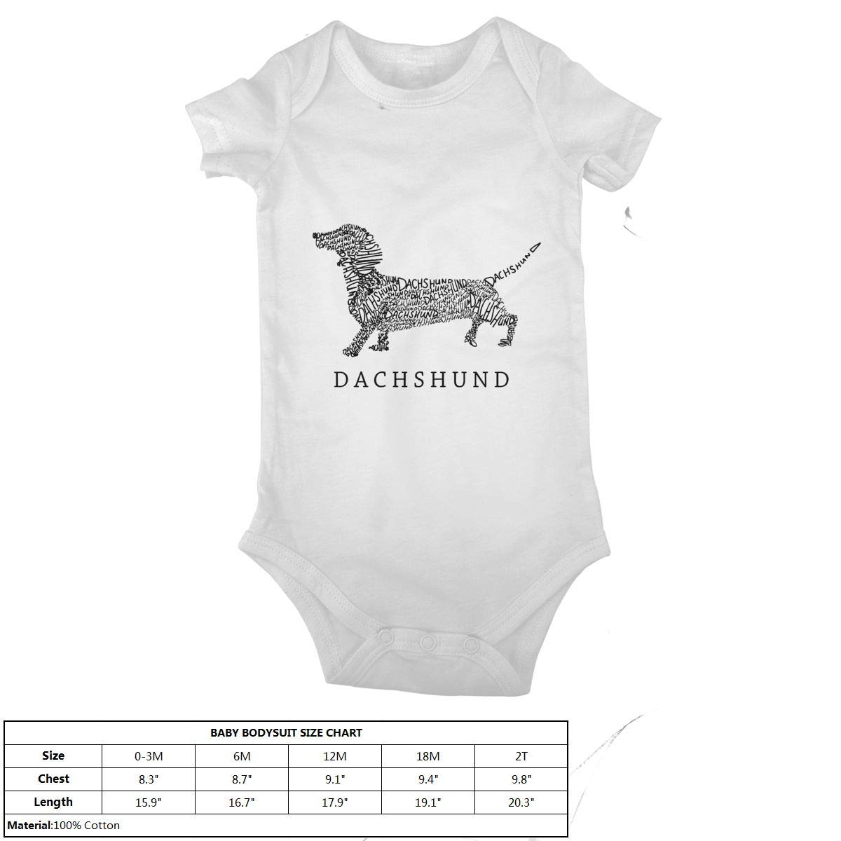 Dachshund Doxen Weiner Word Art Baby Onesies Infant Clothes Bodysuit Jumpsuit Rompers Outfits