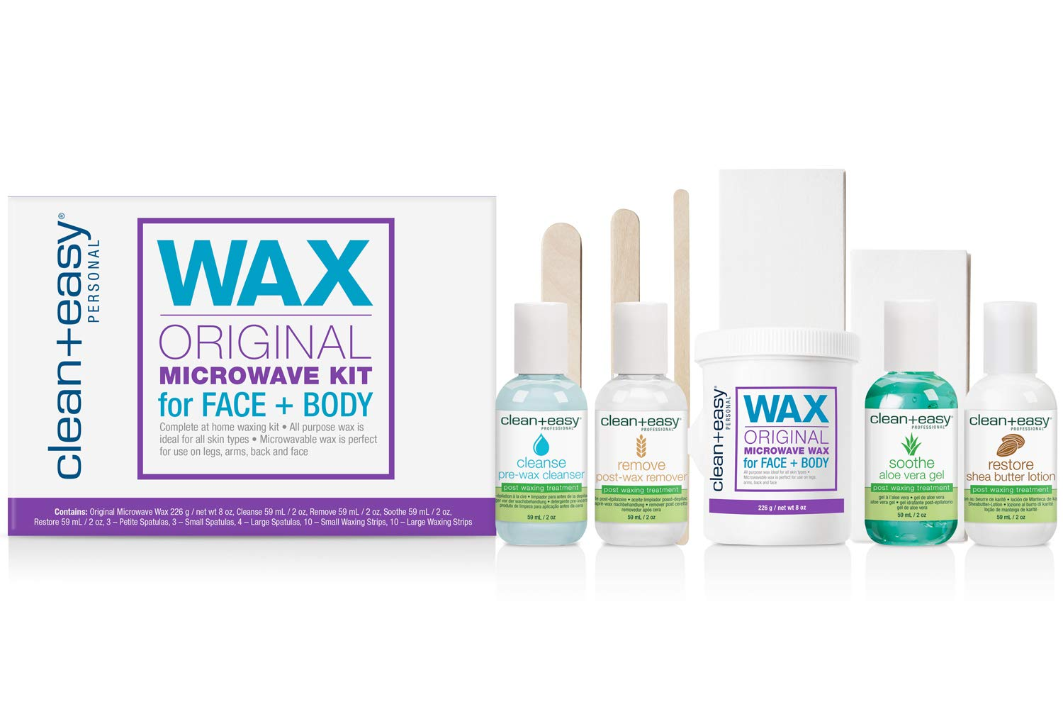 Clean + Easy Original Microwave Kit for Face & Body, All in one Waxing Essentials for Full Body Hair Removal Treatment, 12 Ct.