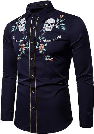 WHATLEES - Camisa para hombre con diseño gótico bordado: Amazon.es: Ropa y accesorios