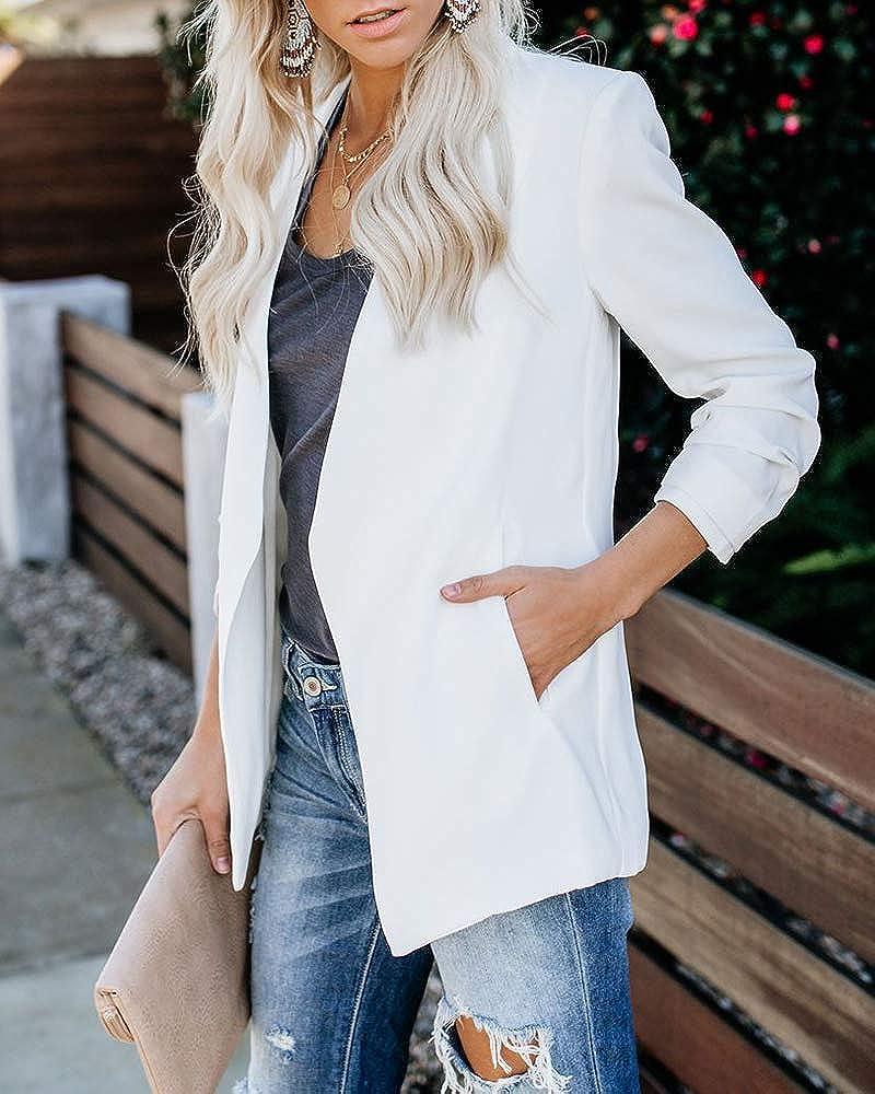 Imily Bela Women's Blazer Elegant Open Front Suit Jacket with Pocket Slim Fit Lightweight Jacket White