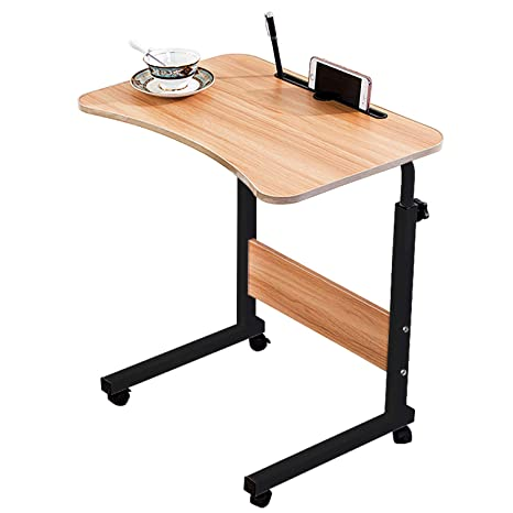 official photos 69011 2bc7a Jerry & Maggie Adjustable Height Desk Laptop Desk   Phone Holder   4 Wheels  Movable Table Lapdesk   Body Curve Edge Design  Wood Desk Cart Tray Side ...