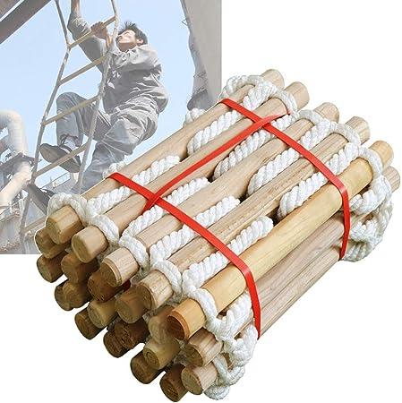 MAHFEI Escalera De Cuerda, Escalera De Incendios Escalera De Cuerda De Escape De Incendio Escaleras De Evacuación Escalera De Seguridad con Ganchos Madera Maciza Pura Fuerte Capacidad De Carga: Amazon.es: Hogar