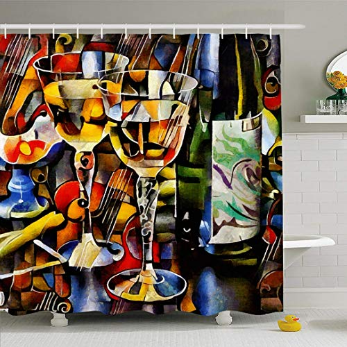 Ahawoso Shower Curtain 66x72 Inches Oil Wine Cubism Bottles Glasses Food Drink Watercolor Painting Alcohol Expressionism Waterproof Polyester Fabric Set with Hooks