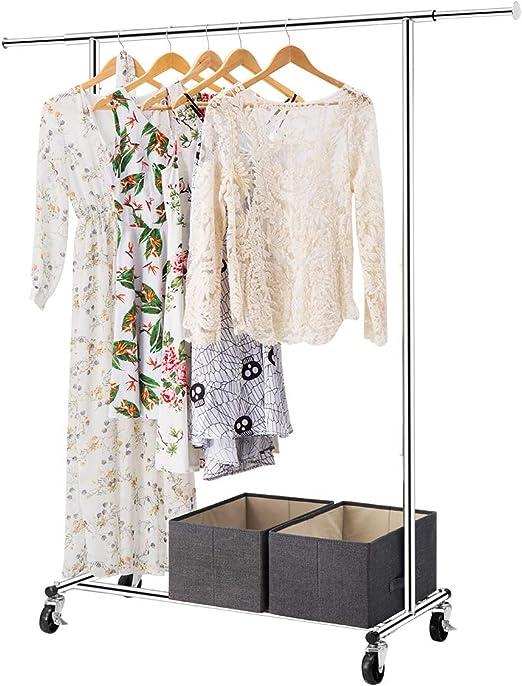 Chrome Finish LANGRIA Heavy Duty Commercial Grade Garment Clothing Rack Supreme Rolling Rack Steel Adjustable Clothes Rack
