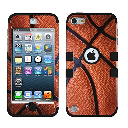 MYTURTLE Shockproof Hybrid Case Hard Silicone Shell High Impact Cover with Stylus Pen and Screen Protector for iPod Touch 5th 6th Generation, Ball Sports Basketball