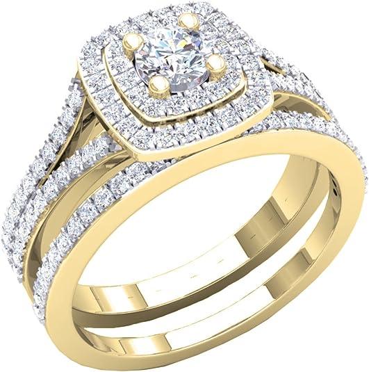 DazzlingRock Collection 1.50 carats (CT) 10 K Or Rond Oxyde de Zirconium pour Femme Style de Halo Bague de fiançailles Lot de 1 1/2 CT