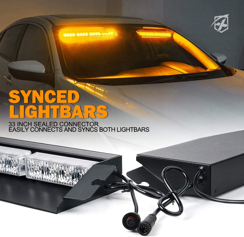 Xprite LED Visor Strobe Light Bar Interior Windshield Sunvisor ...
