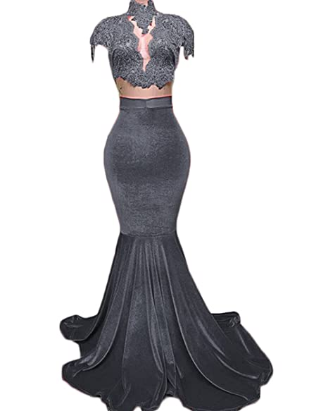 60% cheap pretty and colorful outlet boutique Ri Yun Women's Sexy Velvet Appliques Long Mermaid Prom ...